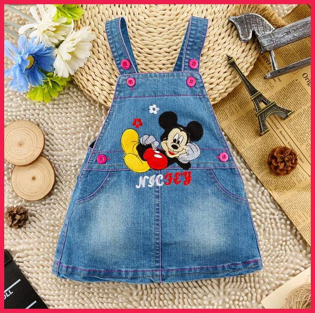 92f4fe10c Adorable! Baby Girl Denim Pinafore Dress Girls Dungarees Dress Casual  Carton Pattern Embroidered