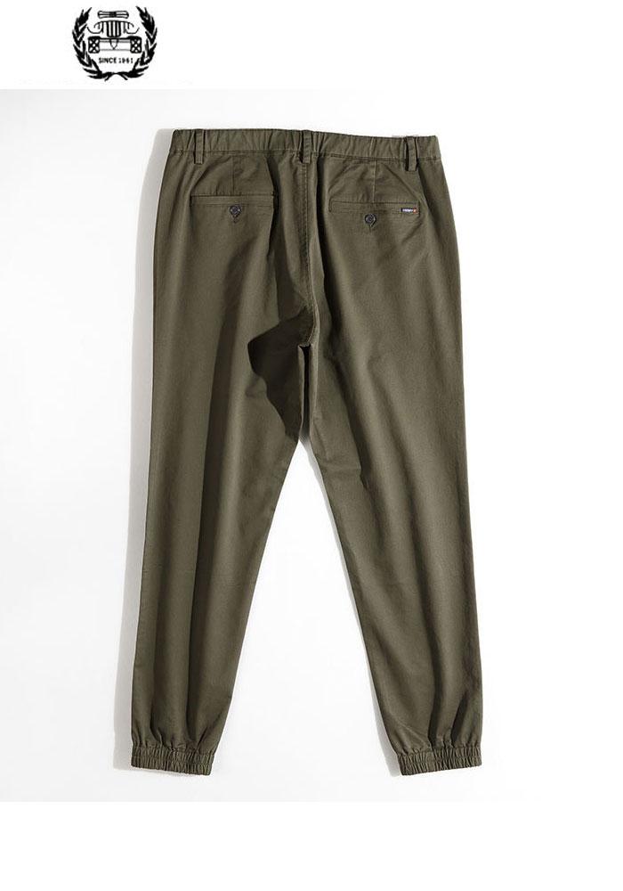 Green Color Algodón Rectos La 2019 Pants khaki Los ropa Pants Nueva Pantalones Otoño Moda Elástico Pants En Primavera De Sólido army Black Marca Cintura Casuales Ribete Hombres wwZgzq