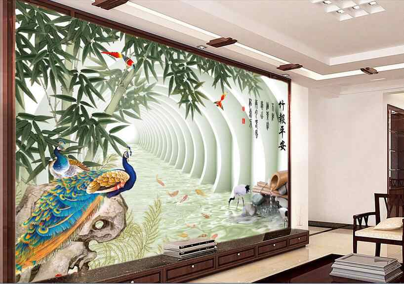 3d комната обои высокого класса на заказ настенная Нетканая Наклейка на стену 3 d китайская бамбуковая картина павлина 3d настенные фрески обои