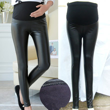 YWHUANSEN PU Leather Pregnant Women's Leggings Autumn Winter Warm Pants For Femme Enceint Plus Thin Velvet Adjustable High Waist