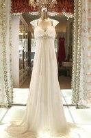 Реальное изображение Империя Пляжные Свадебные платья 2016 Кепки рукавом развертки поезд рюши со стразами и бусинами элегантные свадебные п