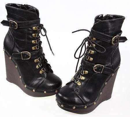 Women New Punk Rock Boots with High Heel Rivet Rock Shoes Wegde Cool Booties for Girls