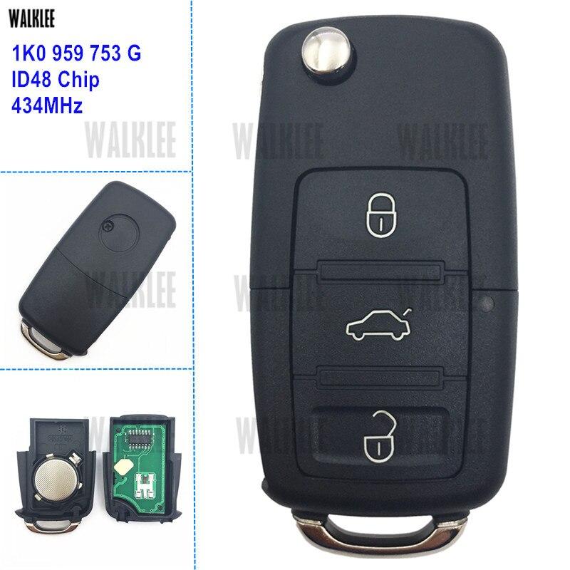 WALKLEE 1K0959753G удаленный ключевой работы для автомобиля SKODA Octavia II ПЗ 1K0 959 753 г 434 мГц передатчик двери автомобиля замок