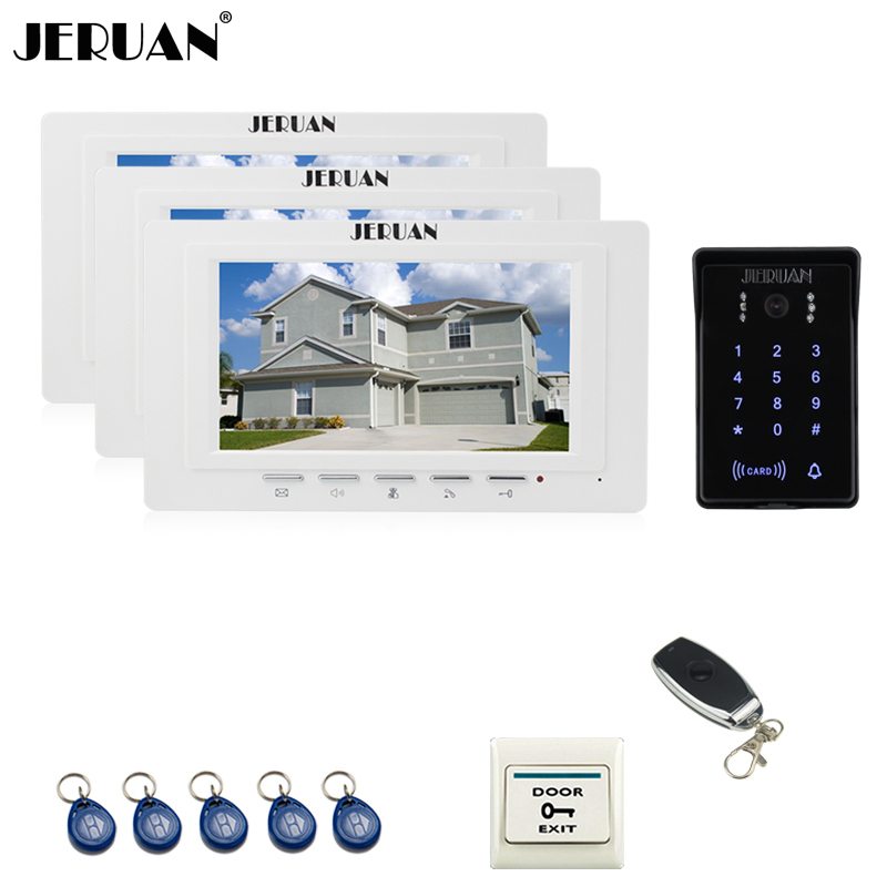 JERUAN 7`` Video Intercom Video Door Phone System 3 brand new monitor RFID Waterproof Touch key Camera+Remote control Unlocked jeruan luxury 7 lcd video doorphone intercom system 2 monitor rfid waterproof touch key password keypad camera remote control