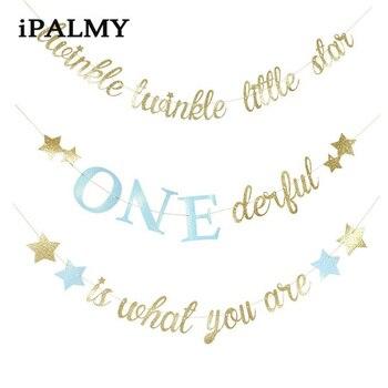 Geschlecht Offenbaren Banner | Ipalmay Twinkle Little Star Banner Kinder Geburtstag Party-Baby-Dusche Girlande Requisiten Mädchen Prinzessin One 1st Geburtstag Party Dekoration