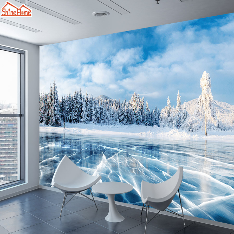 ShineHome-Custom 3D Wallpaper Winter Frozen Lake Ice And Cracks Hills Pines Blue Sky Wallpapers For 3 D Living Room Wall Paper
