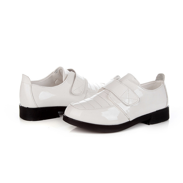 Boys Formal Leather Shoes Kids Performance Party Black White Shoes Children Chaussure Enfant Hook ninos Leather Shoes C154