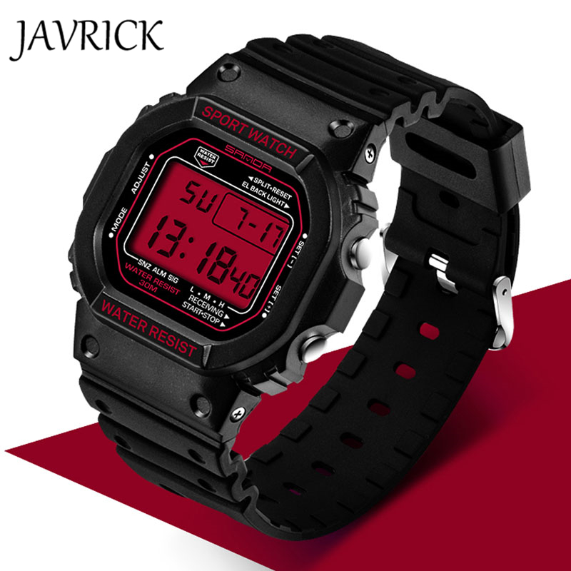 JAVRICK Men Stainless Steel LED Digital Date Alarm Sports Military Army Watch Waterproof