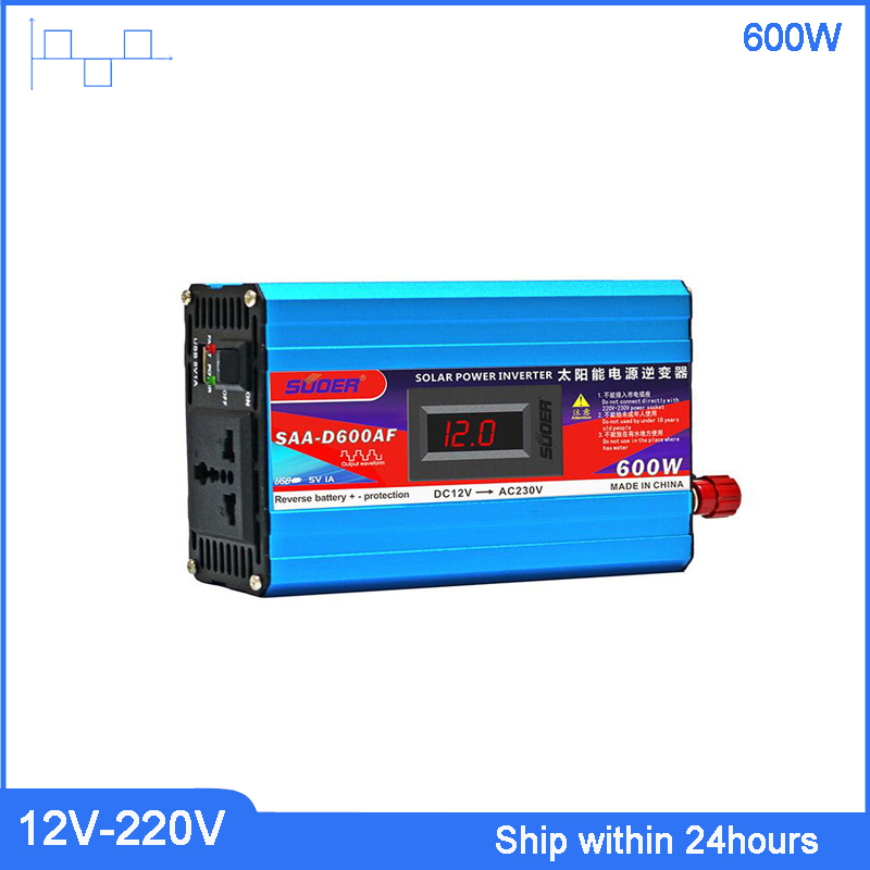 New 600W DC 12V to AC 220V Portable/LCD Display Power Transformer with 5V USB Port Car Power Inverter with Anti Reverse Function