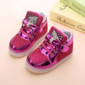 Fashion 5 Colors Children Shoes New Spring Hello Kitty Rhinestone led shoes kids Girls Princess Cute Shoes With Light EU 21-30