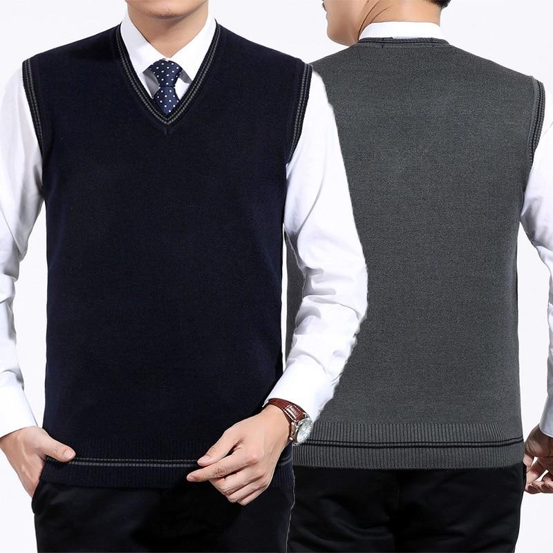 Trendmarkierung Neue Ankunft Mode Herbst Winter Männer Stricken Weste Sleeveless Verdickt Pullover V-ausschnitt Casual Größe S M Lxl Xxl Feine Verarbeitung