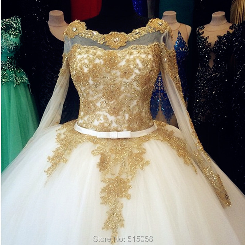 Vintage Wedding Dresses Gold : Long sleeves ball gowns dresses wedding vintage bridal dress