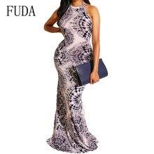 FUDA Female Sexy Off Shoulder Summer Bodycon Bandage Dress New Fashion Vintage Printed Long Maxi Women Vestidos Verano