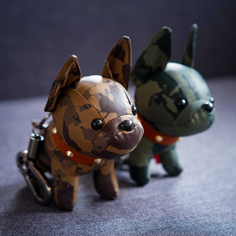 Bulldog พวงกุญแจ Pu หนังสัตว์สุนัขพวงกุญแจกระเป๋า Charm Trinket Chaveiros Bulldog กระเป๋า Punk สไตล์ Pendan