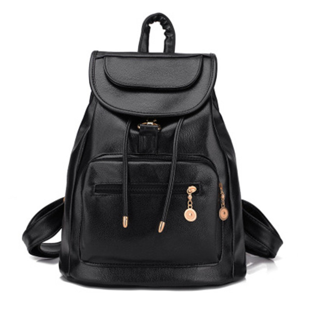 2016 New Women Backpack Pu Leather Black Shoulder School Bags For Girl Drawstring Travel Backpack Bolsa Feminina WQ027