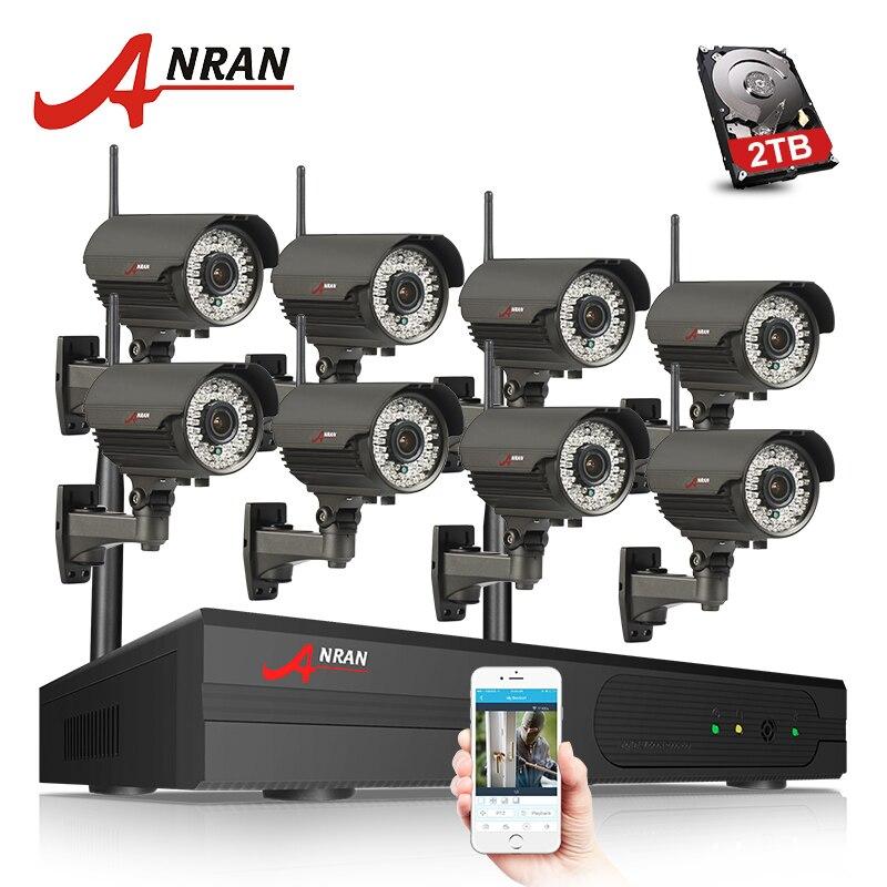P2P 8CH 1080 p HDMI WIFI NVR ANRAN 3 tb HDD 2.8-12mm 2MP 78 IR Ao Ar Livre Sem Fio IP Câmera De Segurança De Vídeo Vigilância CCTV Sistema