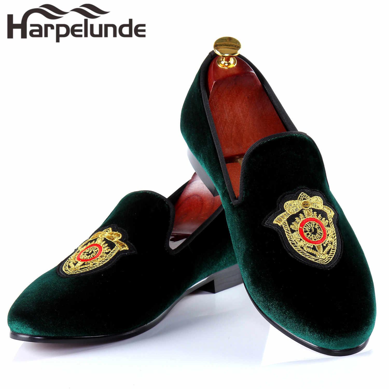 Harpelunde ผู้ชายรองเท้าแต่งงาน Handmade กำมะหยี่สีดำ Loafers แบนขนาด 6-14