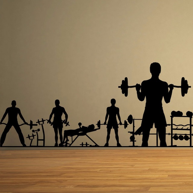 Gym Vinyl Wall Decal People Workout Dumbbell Barbell