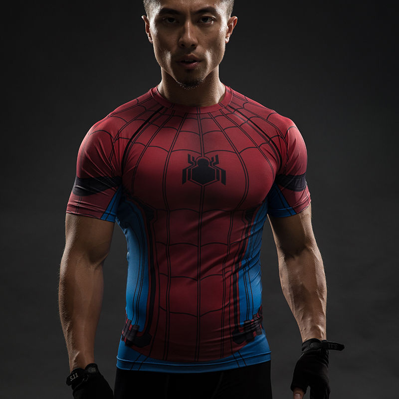Captain America 3 Civil War SPIDER- MAN 3D Printing Tights Men's T-Shirts Cosplay T-shirt Halloween Party