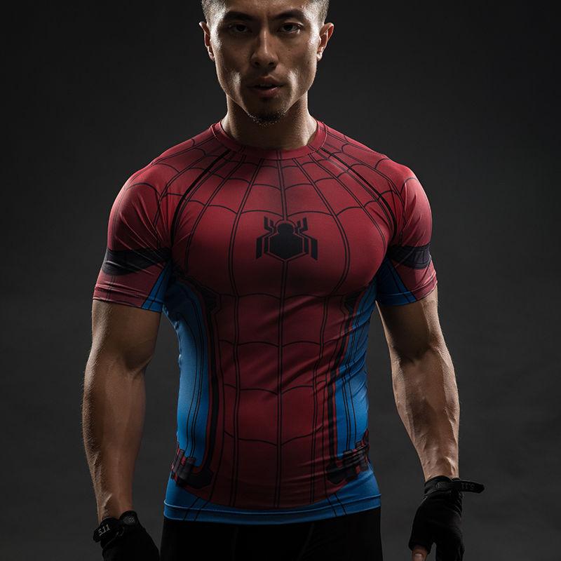 Captain America 3 Civil War SPIDER- MAN 3D Printing Tights Men's T-Shirts Cosplay T-shirt Halloween Party
