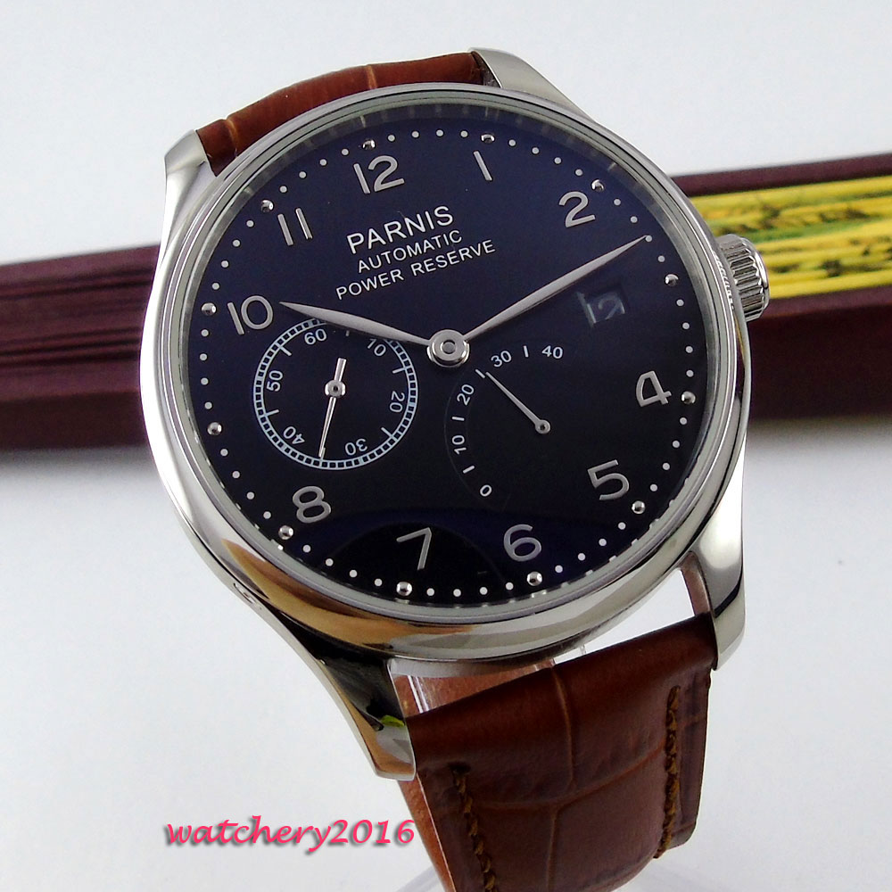 Фото 43mm parnis Black Dial Date window Leather strap Stainless Steel Case Luxury Power reserve ST Automatic Movement men