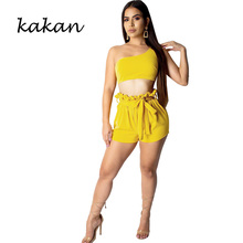 Kakan summer new womens jumpsuit two-piece fashion casual sexy temperament shoulder-length
