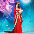 Hanfu Vestuario Juego de La Espiga Hanfu Ropa de La Reina Yangguifei Traje de Princesa Girl Esmoquin Rojo Rosa Lago Azul Trajes Antiguos Chinos