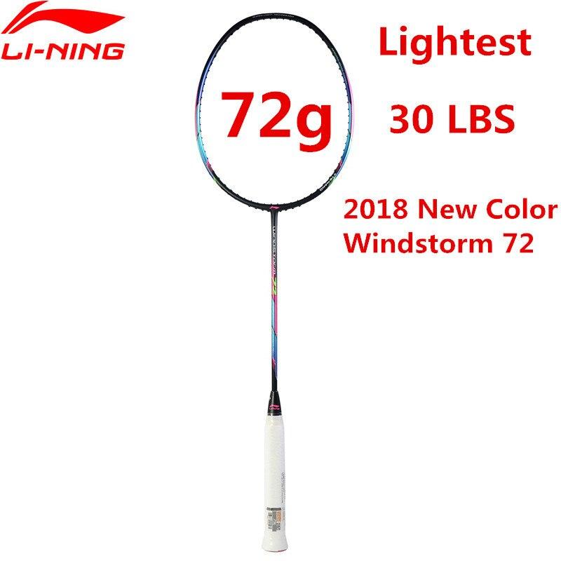 72g Li-Ning Raquette De Badminton Super Léger En Fiber De Carbone Professionnel Li Ning Raquette Noir AYPM204 Doublure TEMPÊTE 72 l835OLE