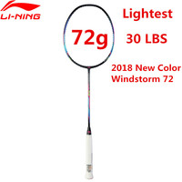72g Li Ning Super Light Badminton Racket Professional Carbon Fiber Li Ning Racquet Black AYPM204 Lining WINDSTORM 72 L835OLE