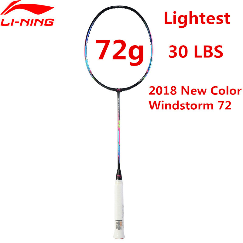 72g Li-ning Super Léger Raquette De Badminton Professionnel En Fiber De Carbone Li Ning Raquette Noir AYPM204 Doublure WINDSTORM 72 l835OLE