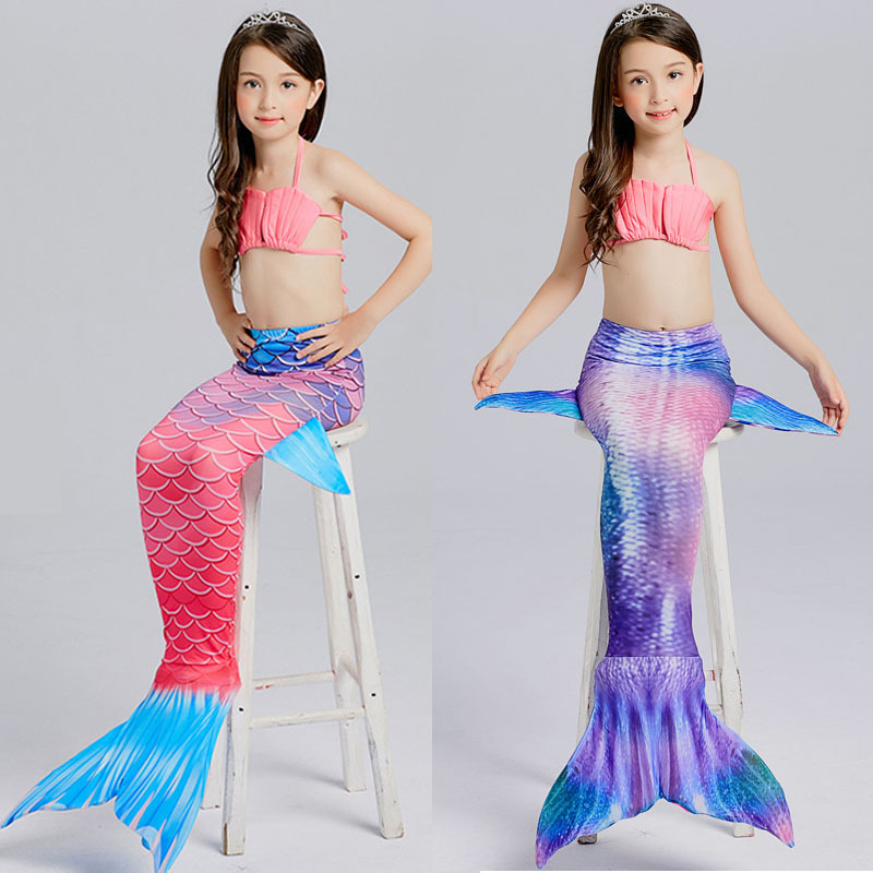 Mother & Kids New 2018 Fairy Mermaid Swimsuit For Kids Girls Mermaid Tail With Flipper Beach Wear Suit Swimming Dress Cosplay Costumes