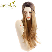 AISI BEAUTY 32 Long Wavy Ombre Light Brown Color Synthetic Hair Wigs For Women