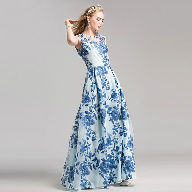 Hem Big Robes Femmes 2017 Parti Plus Manches Automne Brodé Nouveau Taille Sans Robe L'ukraine Longue Bleu D'été vqxFEPp