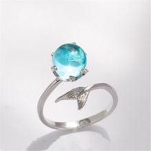 Zn anel ajustável para o casamento feminino noivado banhado a prata anel de dedo jóias elegante personalidade design sereia
