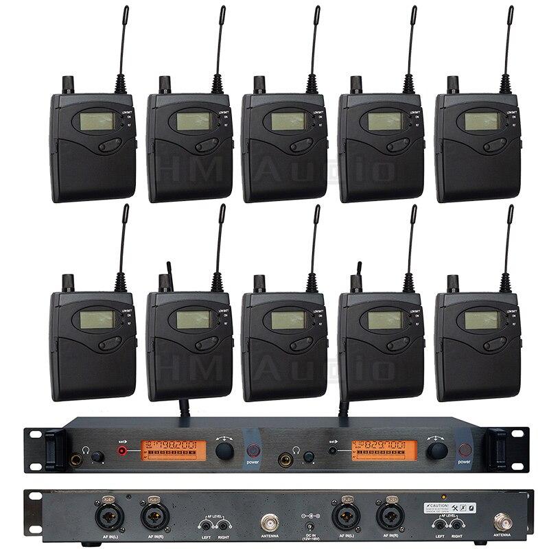 In Ear Monitor di Sistema di SR2050 Doppio trasmettitore Senza Fili di Monitoraggio Professionale per la Prestazione Della Fase 10 ricevitori