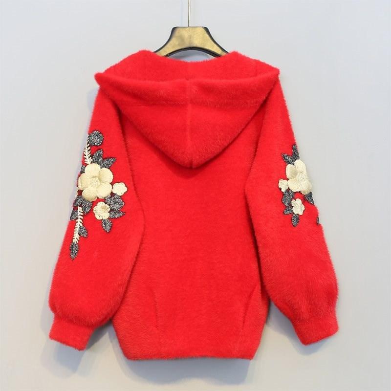 Visón Capucha black Con Las V453 Suelto Mujeres Cachemira Invierno Otoño Espesar E Nuevas Chaqueta Cálido 2019 Bordado Mujer De Punto Casual Suéter Red white OxvwqBvC