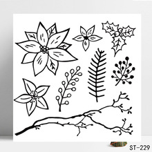 AZSG Different Leaves Beautiful Flower Clear Stamps/Seals For DIY Scrapbooking/Card Making/Album Decorative Silicone Stamp Craft
