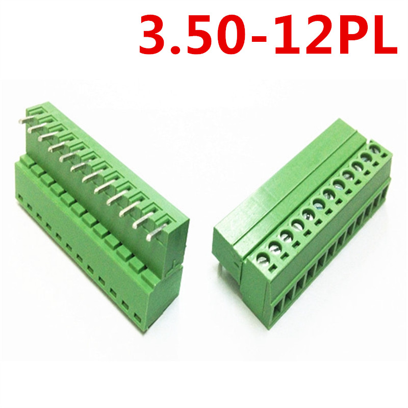 10sets 12 Pin 15EDG-3.5mm spacing Universal Right Angle Bend Pluggable type Green Terminal Block Connector pin header and socket