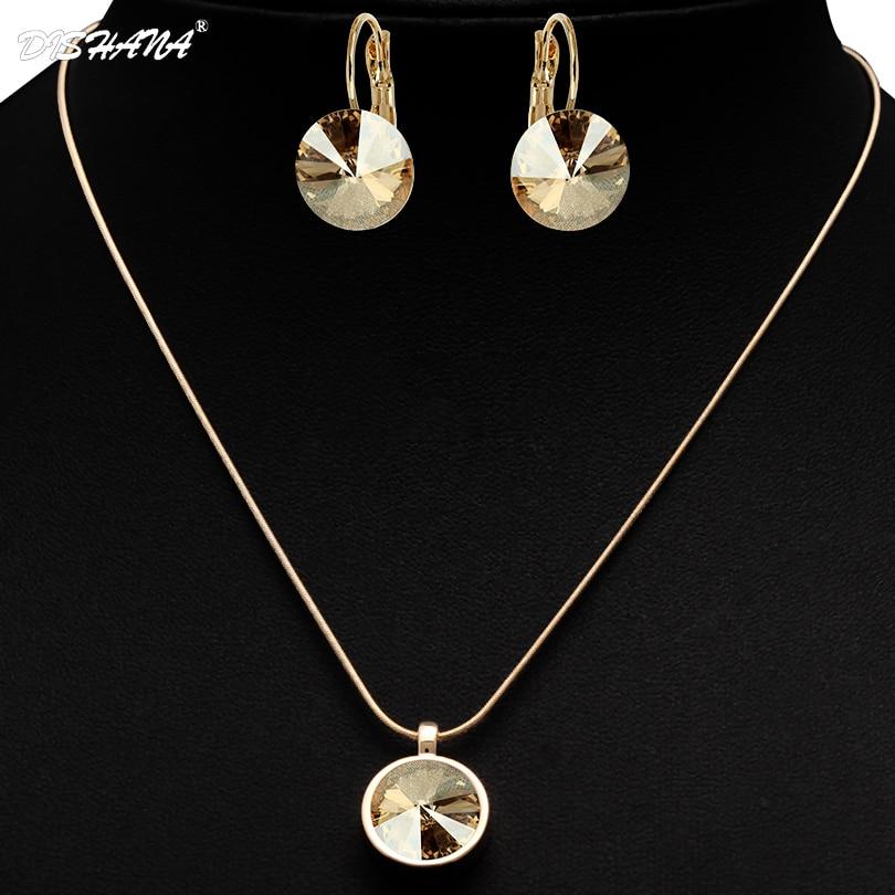 Sistemas de la Joyería de moda Nupcial Conjunto de Collar de Cristal Austriaco p