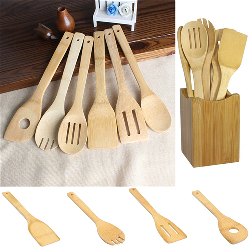 6 Pieces New Bamboo Spoon Spatula Kitchen Utensil Wooden Cooking Tool Mixing Set 2