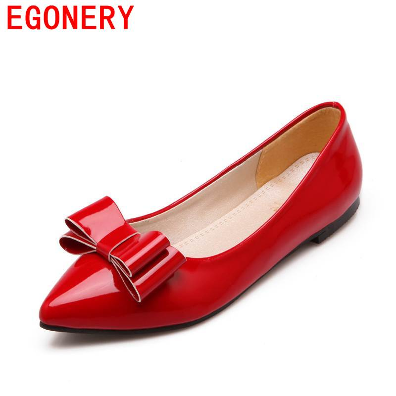 Egonery women flats 2017 patent leather butterfly-knot decoration lady casual office pointed toe leisure spring women shoes baiclothing women casual pointed toe flat shoes lady cool spring pu leather flats female white office shoes sapatos femininos