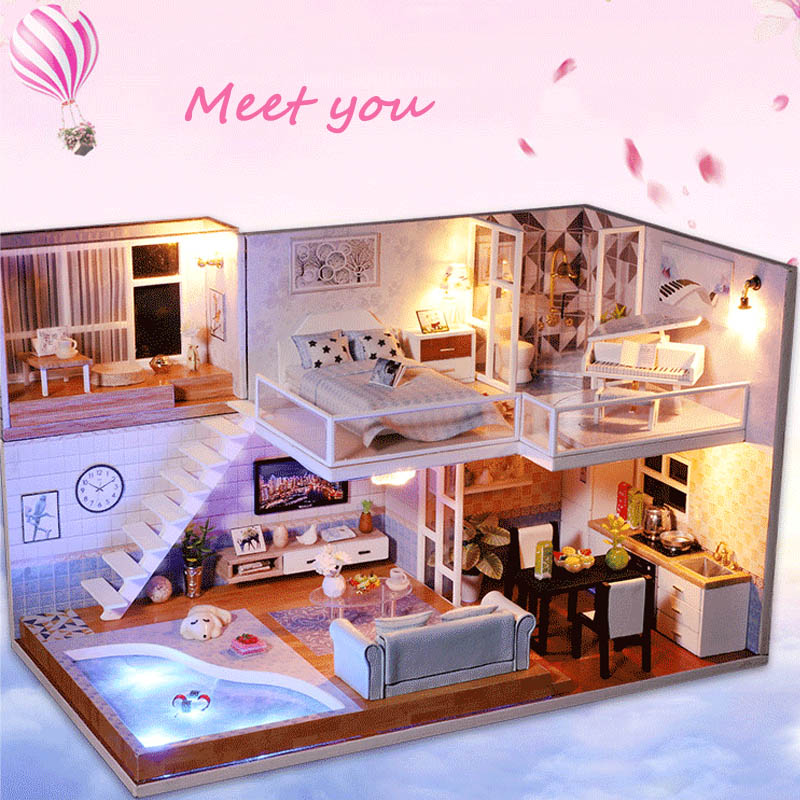 DIY Doll House Miniature Dollhouse Model With Furniture LED Light Building Kits Wooden Loft House Toys For Children Gift M016 все цены