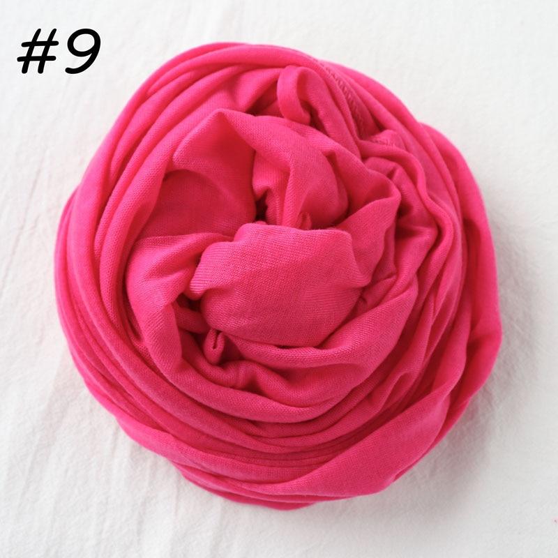 Один кусок Хиджаб Женский вискозный Джерси-шарф Мусульманский Исламский сплошной простой Джерси хиджабы Макси шарфы мягкие шали 70x160 см - Цвет: 9 fushia