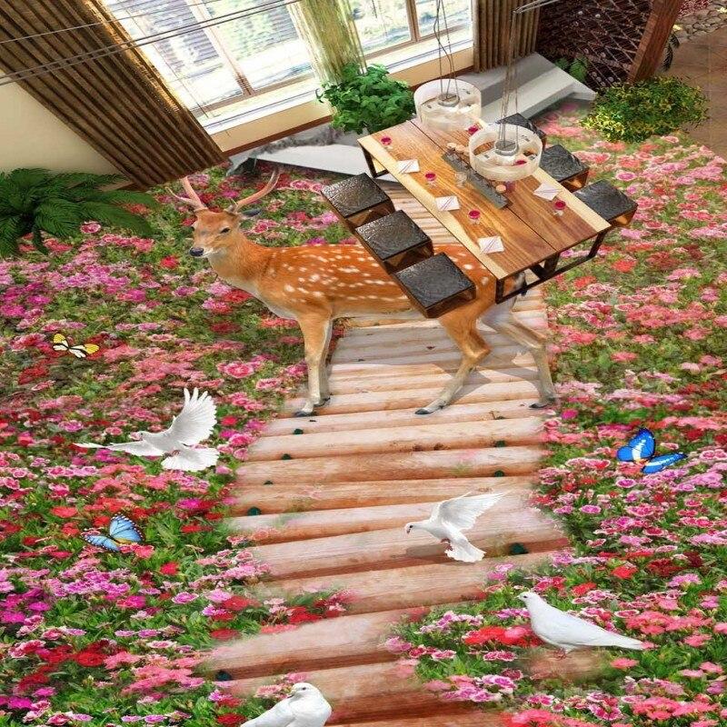 ФОТО Free Shipping Beautiful Wonderland flowers 3D floor painting stereo moisture-proof high-quality bathroom mural wallpaper