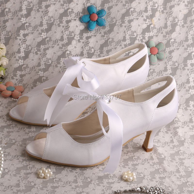 New Arrival White Wedding Shoes Heels White Ribbon Ladies Pumps Open Toe Dropship