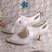 Новое поступление белый свадебные туфли на высоких каблуках белая лента дамы-лодочки открытым носком прямая поставка