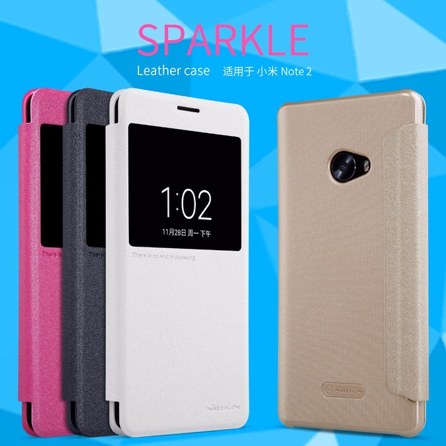 premium selection 7dbfd 49ec5 US $9.46 |Xiaomi Mi Note 2 case Smart cover Nillkin sparkle leather case  for Xiaomi Mi Note 2 Auto Sleep Status View windows-in Flip Cases from ...