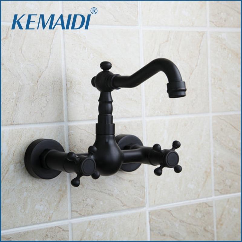 KEMAIDI Double Handles Short Bathtub Wall Mounted Oil Rubbed Black Bronze Swivel Spout  Bathroom Sink Torneira Faucet,Mixer Tap стоимость