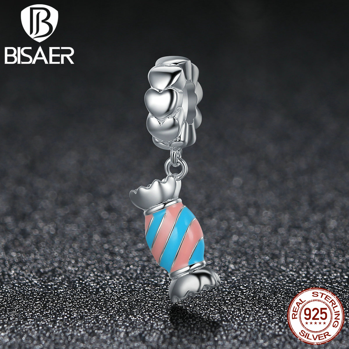 BISAER 100% 925 Sterling Silver Sweety Candy, Colorful Enamel Beads Charms Fit Authentic Original Pan Bracelets HSC348