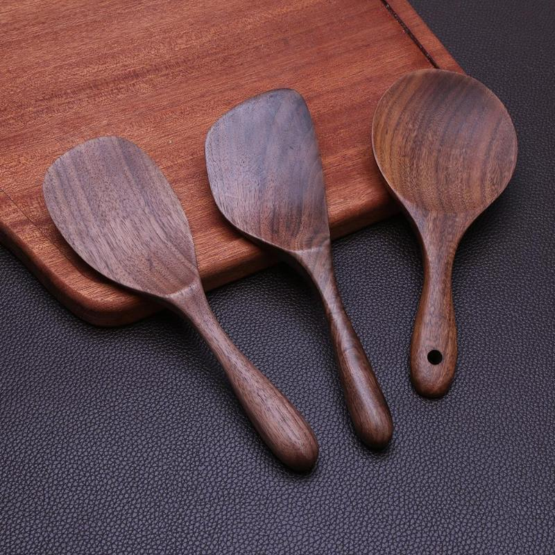 Natural Wooden Non-stick Shovel Pan Rice Spoon Kitchen Cooking Tool Cookware Wooden Handle Spatula Rice Spoon Kitchen Tools